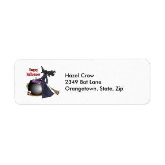 Schöne Hexe und die Kessel-Adressen-Etiketten Rückversand-Adressaufkleber