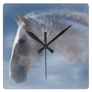 Schöne indische Pony-Uhr Quadratische Wanduhr
