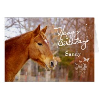 Schöne Kastanien-Pferdegeburtstags-Gruß-Karte Grußkarte