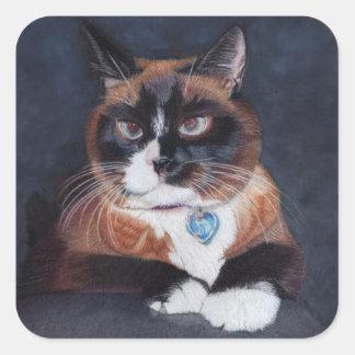 Schöne Katze Quadratischer Aufkleber