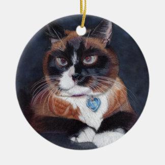 Schöne Katze Rundes Keramik Ornament