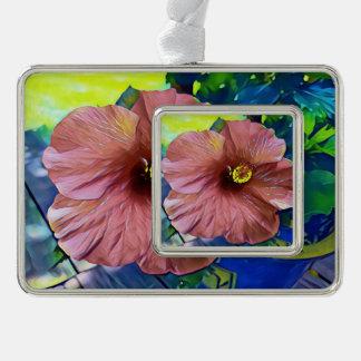Schöne künstlerische Hibiskus-Blüten Rahmen-Ornament Silber