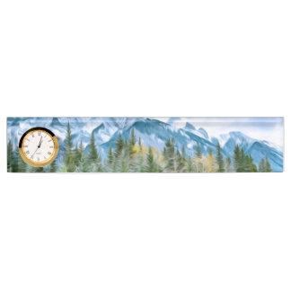 Schöne Landschaft von der Winterzeit Namensplakette