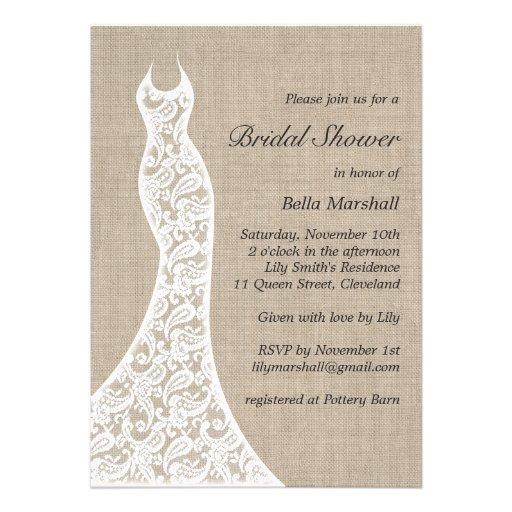 Schöne Leinwand-Brautparty-Einladung