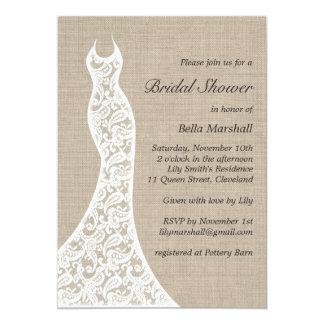 Schöne Leinwand-Brautparty-Einladung 12,7 X 17,8 Cm Einladungskarte