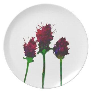 Schöne lila Blumen-Entwurfs-Platte Melaminteller