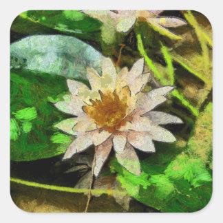 Schöne Lotos-Blume Quadratischer Aufkleber