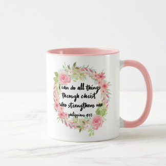 Schöne Mädchenphilippians-4:13 Rosa-Rosen-Tasse Tasse