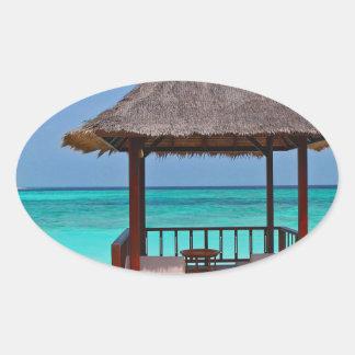 Schöne Malediven-Inseln Ovaler Aufkleber