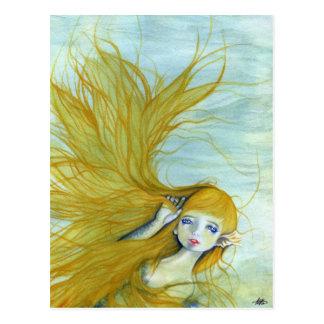 Schöne Meerjungfrau-Haarpostkarte Postkarte