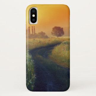 Schöne Morgenlandschaft mit dem Fluss iPhone X Hülle