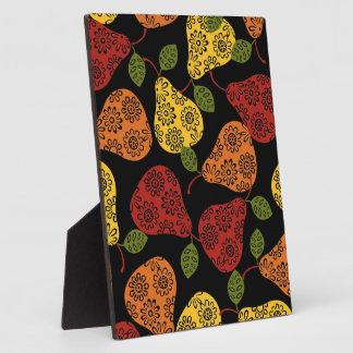 Schöne niedliche Birnen, Gelb, Orange, Fotoplatte