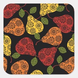 Schöne niedliche Birnen, Gelb, Orange, Quadratischer Aufkleber