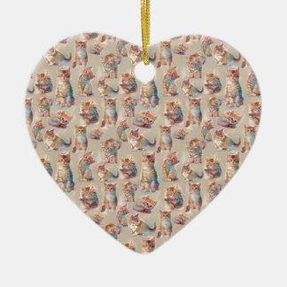 Schöne niedliche Kätzchen Keramik Herz-Ornament