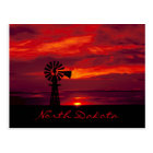 """Schöne """"North Dakota"""" Windmühle am Sonnenuntergang Postkarte"""