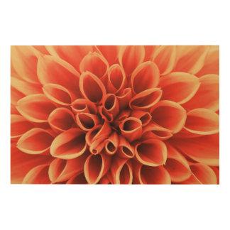 Schöne orange Dahlie-Blume Holzwanddeko