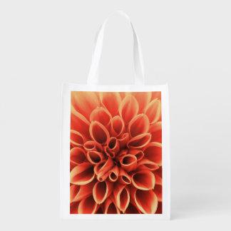 Schöne orange Dahlie-Blume Wiederverwendbare Einkaufstasche