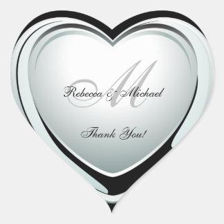 Schöne Platin-Herz-Hochzeit danken Ihnen Aufkleber