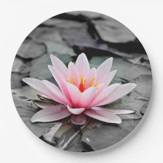 Schöne rosa Lotos-Blumen-Wasserliliezen-Kunst Pappteller