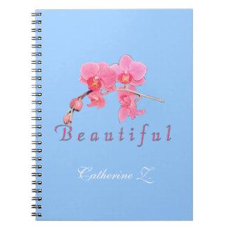 Schöne rosa Orchideen-Blumen im blauen Hintergrund Spiral Notizblock