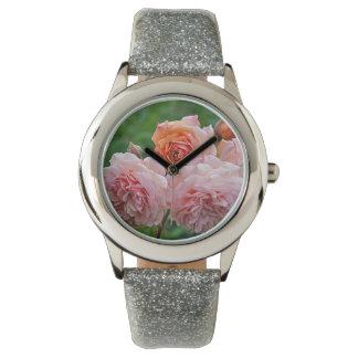 Schöne rosa Rosen Armbanduhr