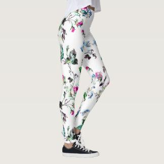 Schöne rosa Rosen-u. Blau-Blumen-Blumengamaschen Leggings