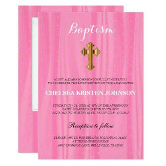 Schöne rosa u. weiße Satin-Taufe/Taufe Karte