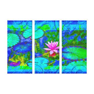 Schöne rosa Wasser-Lilie Lotus im Teich Leinwanddruck
