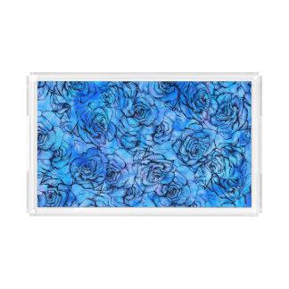 Schöne Rosen auf blauem Hintergrundmuster Acryl Tablett