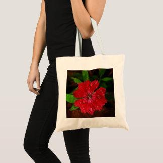 Schöne rote Blume mit Regentropfen-Foto Tragetasche