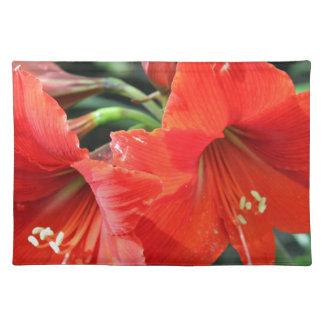 Schöne rote Blumen-Fotografie Stofftischset