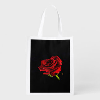 Schöne Rote Rose Wiederverwendbare Einkaufstasche