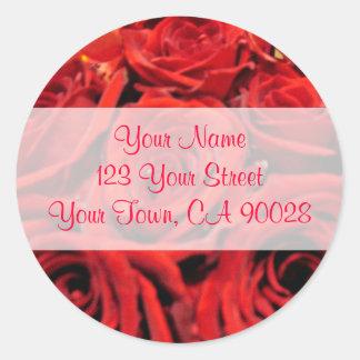 Schöne Rote Rosen Adressen-Etiketten Runder Aufkleber