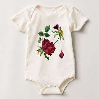 Schöne Rote Rosen getan in der Crewel-Stickerei Baby Strampler