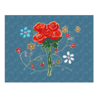 schöne Rote Rosen Postkarte