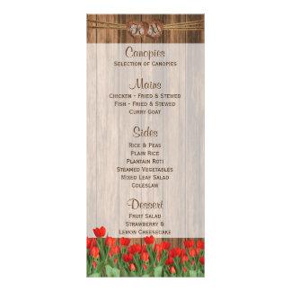 Schöne rote Tulpe-Blumen auf Holz - Menü