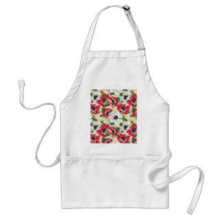 Schöne rote und weiße Mohnblumen auf Sahnegelb Schürze