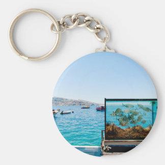 Schöne Santorini Seeansicht Schlüsselanhänger
