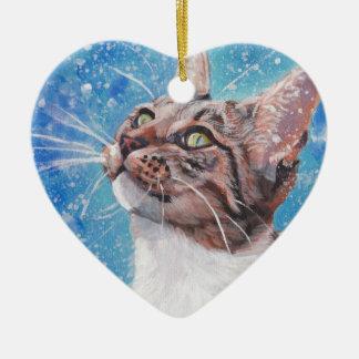 Schöne schöne Kunsttabby-Katze in der Keramik Herz-Ornament