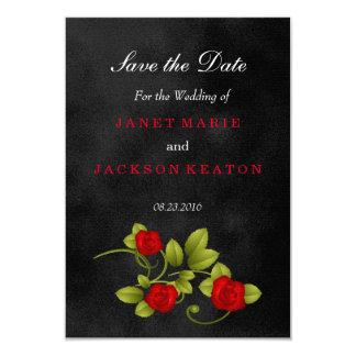 Schöne Schwarz-und Rosen-Hochzeit Karte