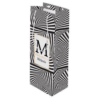 Schöne Schwarz-weiße gewundene optische Illusion Geschenktüte Für Weinflaschen