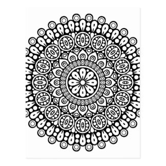 Schöne Schwarzweiss-Mandala für herein färben Postkarte