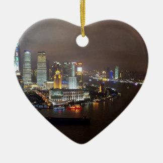 Schöne Shanghai-China in der Nacht Keramik Ornament