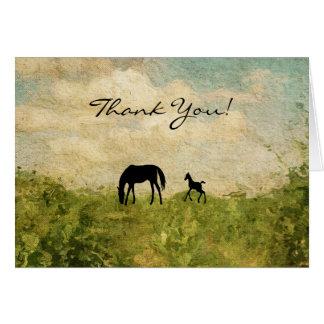 Schöne Silhouette-Stute und Fohlen-Pferd danken Karte