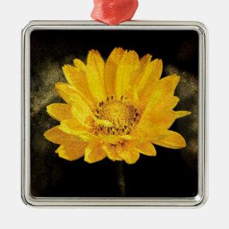 Schöne Sonnenblume mit dunkles Brown-Hintergrund Quadratisches Silberfarbenes Ornament