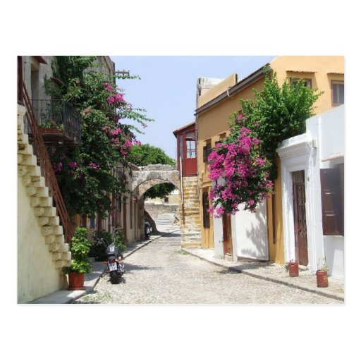 Schöne Straße in alter Stadt Rhodos Postkarte