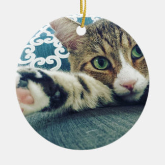 Schöne Tabby-Katze mit grünen Augen Rundes Keramik Ornament