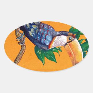 Schöne Toucan Vogel-Malerei Ovaler Aufkleber