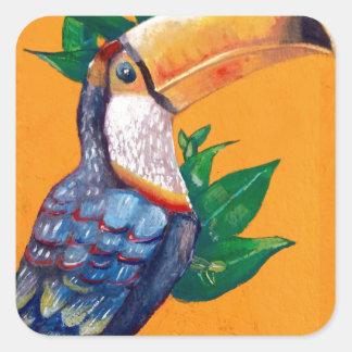 Schöne Toucan Vogel-Malerei Quadratischer Aufkleber