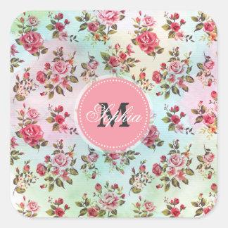 Schöne trendy girly Vintage Monogramm-Rosen Quadratischer Aufkleber